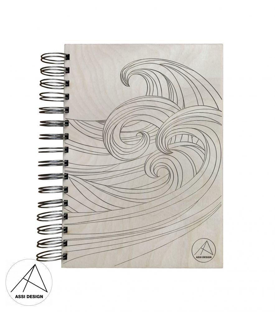Dřevěný diář/blok Vlny