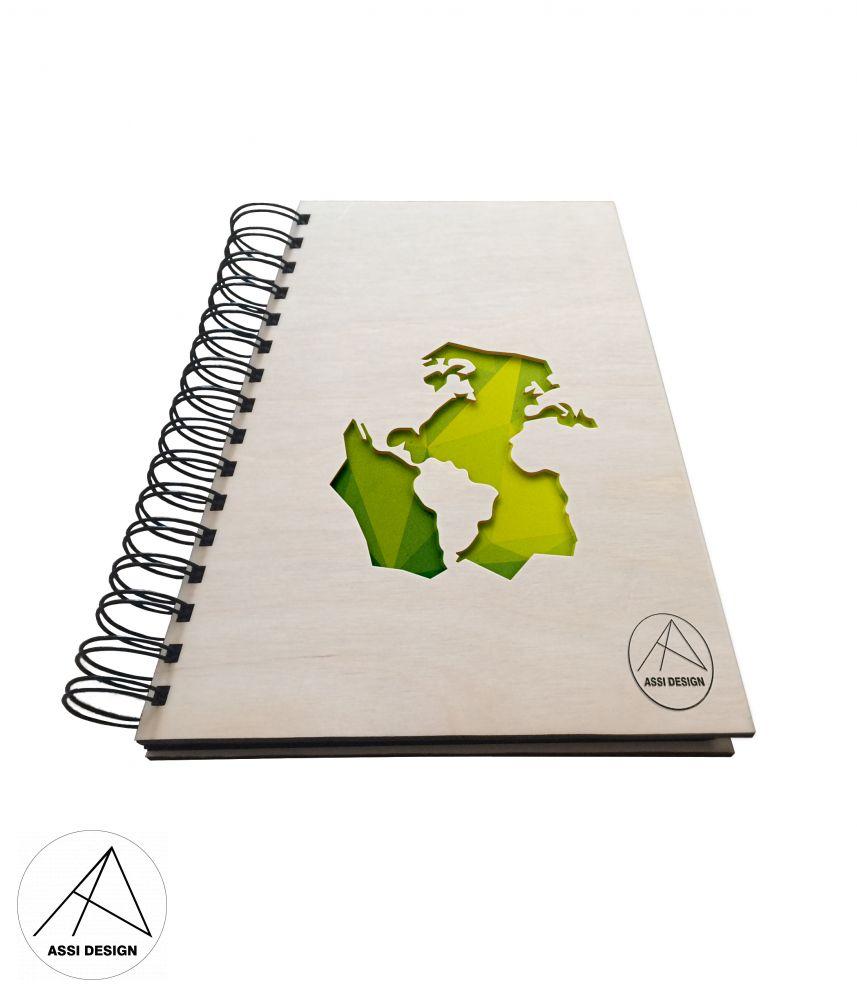 Dřevěný diář/blok Svět
