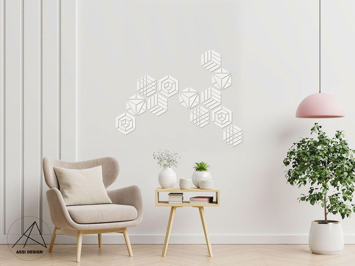 Hexagon dřevěné obrazce 1ks