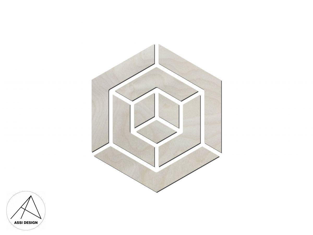 Hexagon dřevěné obrazce 6ks