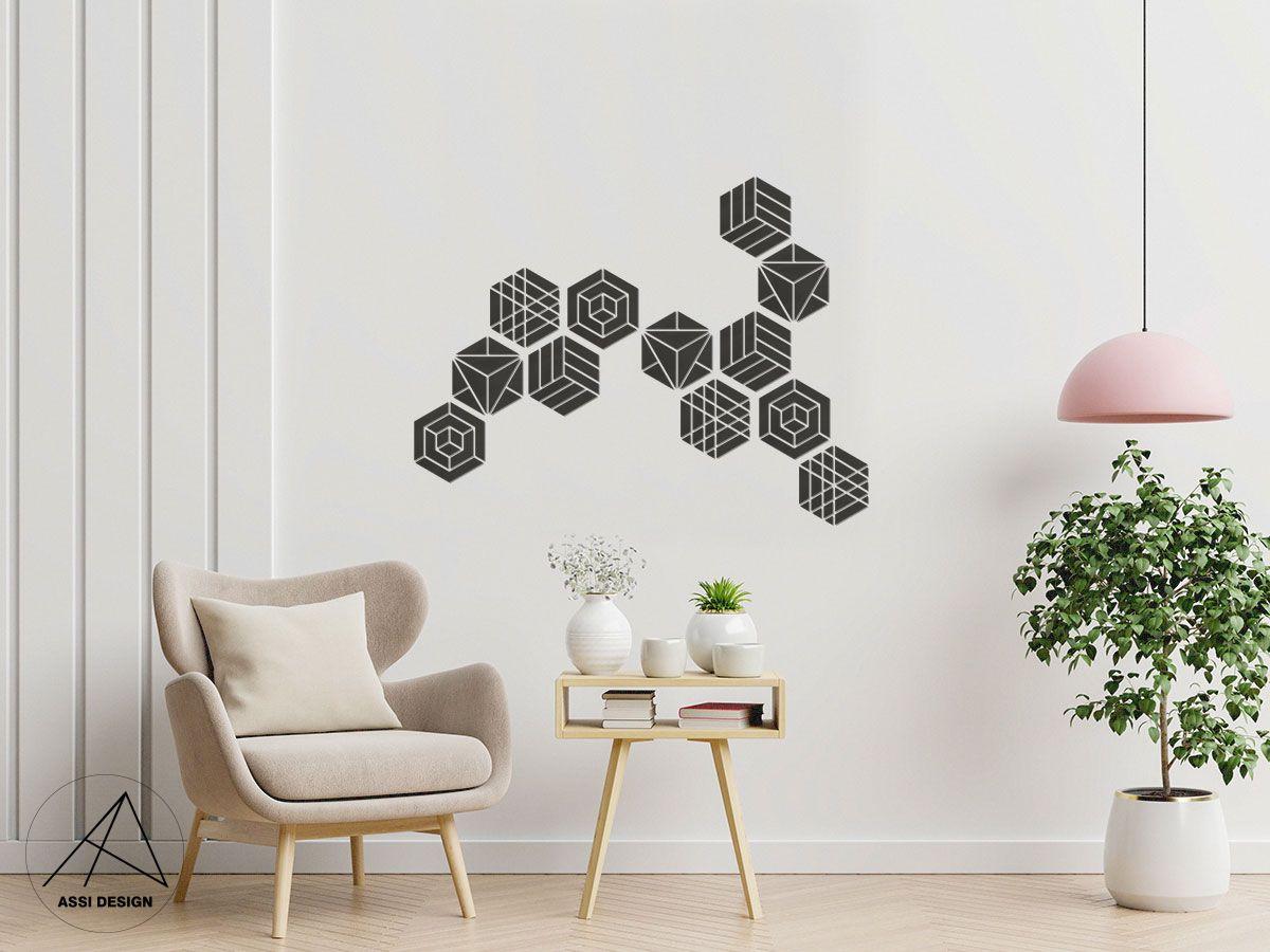 Hexagon dřevěné obrazce