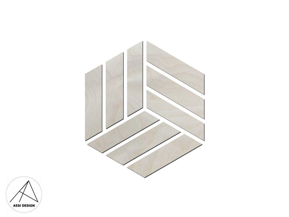 Hexagon dřevěné obrazce 12ks