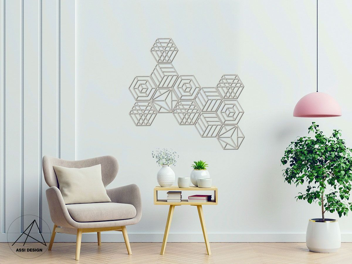 Hexagon dřevěné tvary 6ks