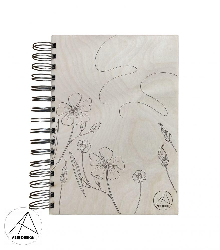 Dřevěný diář/blok Květiny